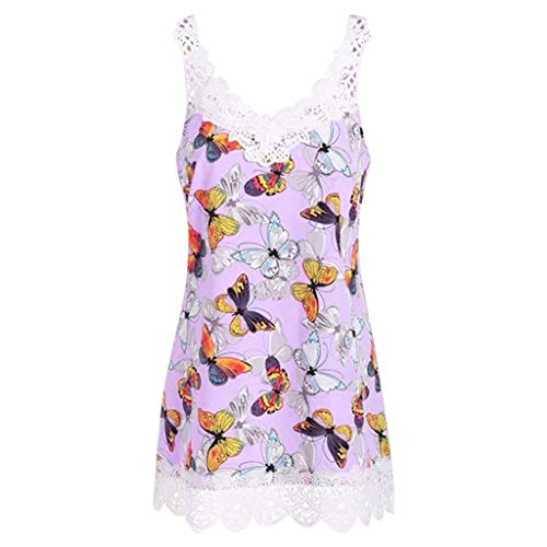Weste Frauen Lace Splice Casual Weste V-Ausschnitt ärmellose Schmetterling Print Tops T-Shirt Bluse -