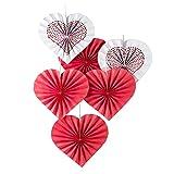 SUNBEAUTY 6er Papier Fächer Herz Dekoration Rot für Valentinstag Party Feier Hochzeitstage