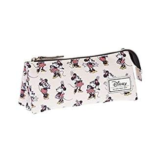 Disney Minnie Mouse Classic Minnie Estuche portatodo Triple, Color Beige, 24 cm (Karactermanía 33569)