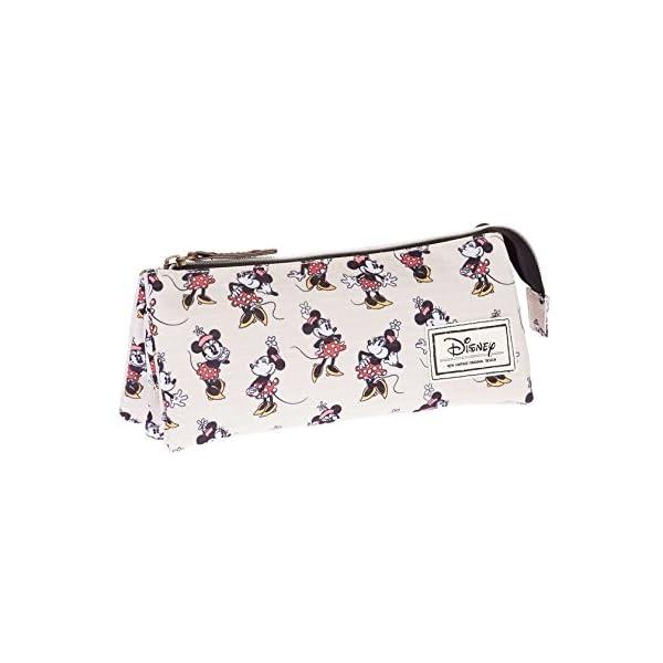 Minnie Mouse- Disney Classic Minnie Estuche portatodo Triple, Color Beige, 24 cm (Karactermanía 33569)