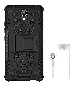 Chevron Tough Hybrid Armor Back Cover Case with Kickstand for Xiaomi RedMi Note 2 With Chevron 3.5mm White Stereo Earphones (Black)