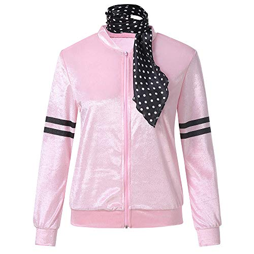 Longra Damen Leichte Kurze Jacke Zip Langarm Baseball Jacke Pink Satin mit Polka Dot Schal Jacke Frühling Outerwear Langarm Shirt Kurzer Zip-jacke
