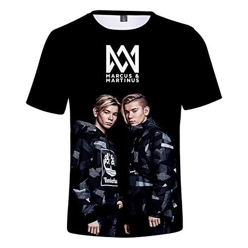 WYDHHLD Unisex 3D gedruckt Kurzarm Marcus & Martinus sänger t-Shirts Sommer Casual für männer,S