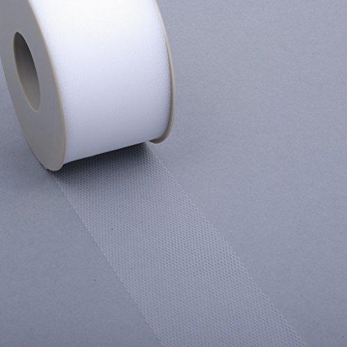 Tüllband - Schleifenband - Dekostoff - Tüllstoff - Hochzeit - Feier - weiß - 50 mm Breite - 50 m...