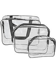PVC sacs cosmetiques - SODIAL(R)3-in-1 PVC Transparent etanche multifonction sacs cosmetiques