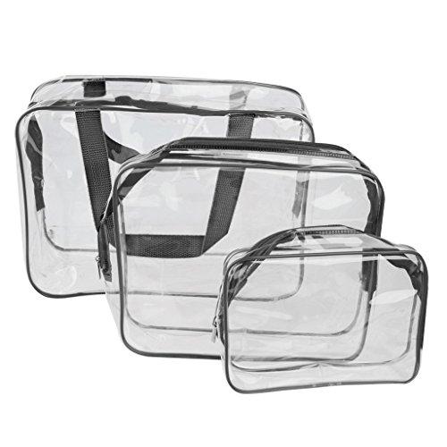 PVC sacs cosmetiques - TOOGOO(R)3-in-1 PVC Transparent etanche multifonction sacs cosmetiques