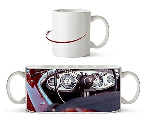 Roter Cabrio Oldtimer als Motivetasse 300ml, aus Keramik weiß, wunderbar als Geschenkidee oder ihre neue Lieblingstasse.