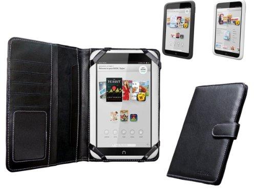 Buch Cover Nook (Navitech echte schwarzes 7 Zoll bycast Leder flip Trage Case / Cover im Buch Stil für das Nook HD 7 Zoll ereader Tablet)