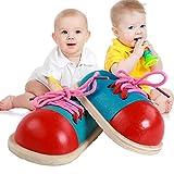 Xiton Jouet en Bois 1set Croisement Chaussures Chaussures De en Bois Bois Croisement Sneaker Apprendre à Faire des Lacets, Motricité Fine Jouet Préscolaire éducation Threading Jouet pour Enfants