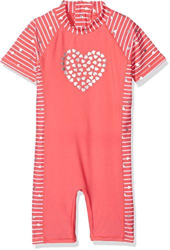 DIMO-TEX Sun Baby-Mädchen Schwimmoverall UV-Schutz 50 Einteiler, Mehrfarbig, AOP Rot Gestreift, 92