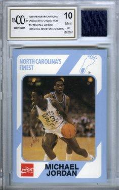 Collegiate Collection 1989 UNC #17 Michael Jordan Rookie mit Stück authentischer getragener UNC Shorts Abgestuft BGS Beckett 10 Mint GGUM Karte