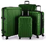 SUITLINE Koffer-Set 4er Set Hartschalenkoffer Trolley Erweiterbar (S, M, L & XL), TSA, Bagage Cabine, 85 cm, 384 liters, Vert (Grün)