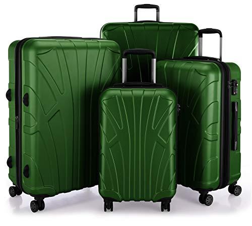 SUITLINE Koffer-Set 4er Set Hartschalenkoffer Trolley Erweiterbar (S, M, L & XL), TSA, Bagaglio a mano, 85 cm, 384 liters, Verde (Grün)
