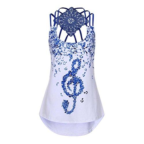 MRULIC Damen T-Shirt Armelloses Top Frauen Verstellbare Schultergurte Runden Hals Leibchen Crop Top(F-Blau,EU-36/CN-S