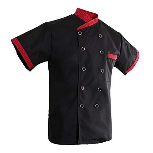 e248dd5c182 Prettyia Unisex Kochjacke Bäckerjacke Arbeitsjacke Kochhemd Chef Jacke  Streifen Kurzarm Hotel Küche Chefwear Mantel - Schwarz