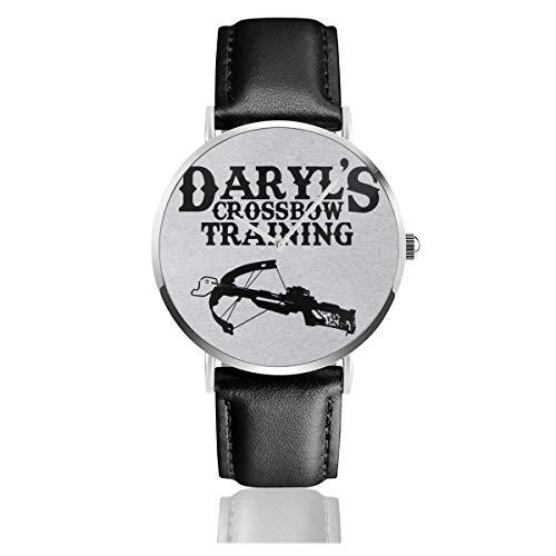Unisex Business Casual Daryls Armbrust Training Walking Dead Uhren Quarz Leder Uhr mit schwarzem Lederband für Männer Frauen Junge Kollektion Geschenk