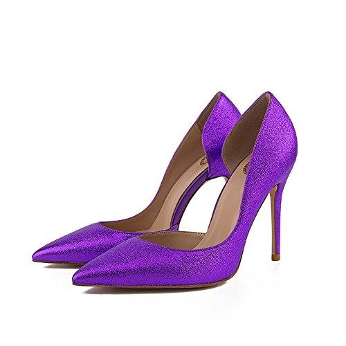 WSS chaussures à talon haut Suede mode hauts talons sequin pointe creuse en relief léger Purple