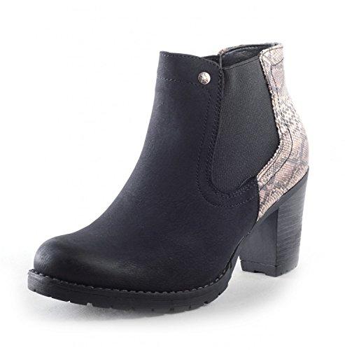 Élégant Femme Chaussures Bottines Chelsea Boots Bottes légèrement rembourrée pour femme avec motif serpent en similicuir Noir - Noir