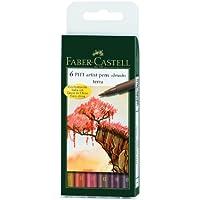 FABER-CASTELL PITT artist pen, 6er Etui - Terra - Faber Castell Pitt Artist Brush