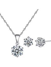 YAZILIND plateado joyer¨ªa conjunto Cubic Zirconia collar diamante Cz colgante collar pendiente montante para las mujeres