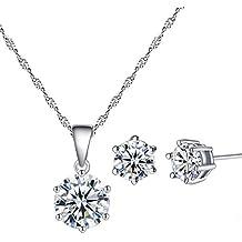 YAZILIND plateado joyeria conjunto Cubic Zirconia collar diamante Cz colgante collar pendiente montante para las mujeres