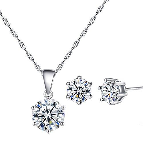 YAZILIND plateado joyeria conjunto Cubic Zirconia collar diamante Cz colgante collar pendiente...