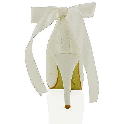 Essex Glam Scarpa Donna da Sposa con Plateau Satin Avorio in raso