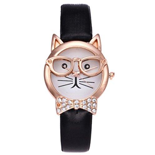 Tic-Tac^^ Montre Femmes, Nouveau des lunettes Chat Adorable Montre Bracelet Noir