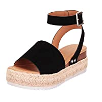 Open Toe Sandals for Women WNGO Studded Wedge Sandals Ladies Buckle Strap Shoes Girls Flat with Casual Slippers Lightweight Elastic Flip Flops for Beach Work Outdoor Swim Indoor (6 UK, Black)