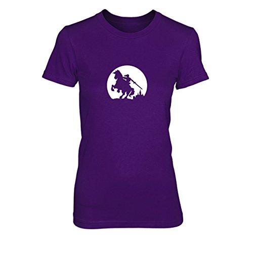Link on Epona - Damen T-Shirt, Größe: XL, Farbe: lila (Legend Of Zelda 3ds-aufkleber)