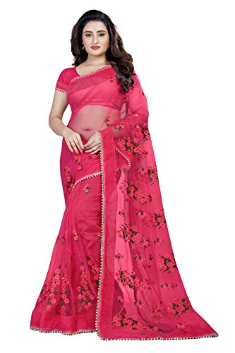 MATMA FASHION Women\'s Mono Net Embroidered Saree With Blouse Piece(1199_Dark Pink_Free Size)