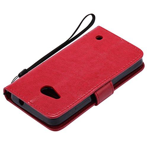 Custodia Microsoft Lumia 550 Cover Case, Ougger Fortunato Foglia Stampa Portafoglio PU Pelle Magnetico Stand Morbido Silicone Flip Bumper Protettivo Gomma Shell Borsa Custodie con Slot per Schede (Por Rosso