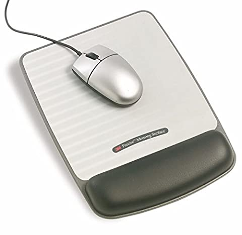 3M 220 x 260mm Mouse Mat with Gel Wrist Rest, Tilt Adjustable and Precise Micro-groove Mousing Surface - Silver