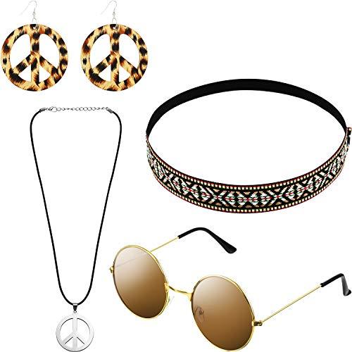 Hippie Kostüm Set mit Sonnenbrille, Stirnband, Friedenszeichen Halskette und Ohrring (Böhmische braune Stil)