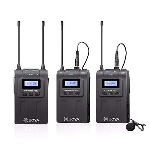 Momola BOYA 2PCs Lavalier Mikrofon Empfänger Wireless Kabellos Funkmikrofon Set,Transmitter Receiver Ansteckmikrofon Clip-on Mic für Canon Camcorder