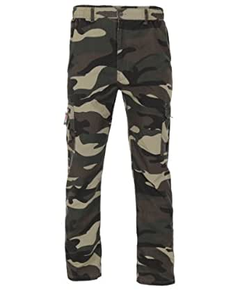 7636-KHA-XXL: Men's 3 in 1 Zip Off Military Army Camouflage Cargo Combat Trousers Pants Shorts
