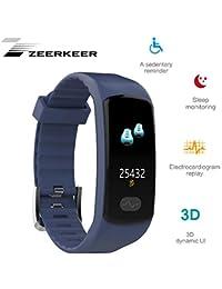 Reloj de Pulsera Zeerkeer, rastreadores de Ejercicios 0.96 Electrocardiograma PPG, podómetro, calorías SMS