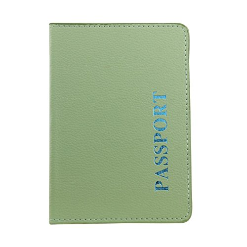 Longra Solido colore moda donna artificiale Lichee modello passaporto titolare protettore portafogli business card soft Passport copertina Verde