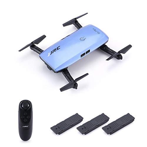 Elfie-WiFi-FPV-Drohne mit 720P HD-Kamera-Höhenhaltemodus Faltbarer G-Sensor-Mini-RC-Selfie-Quadcopter, 3 Batterien ()