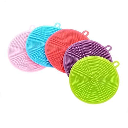 romote 5 pz in silicone spugna piatto di lavaggio di lavaggio della spazzola di pulizia della famiglia spugne, strumenti antibatterico muffa-free spazzole da cucina