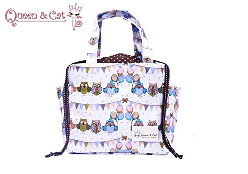Petit sac à lancer étanche Sac à main Queen & Cat-CHOUETTES FOND blanc