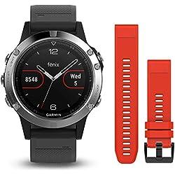 Garmin Fenix 5 - Reloj multideporte, con GPS y medidor de frecuencia cardiaca, lente de cristal y bisel de acero inoxidable, 47 mm, Silver pack 2 correas (Negra y Roja)