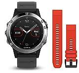 Garmin Fenix 5 - Reloj multideporte, con GPS y medidor de frecuencia cardiaca, lente de cristal y bisel de acero inoxidable, 47...
