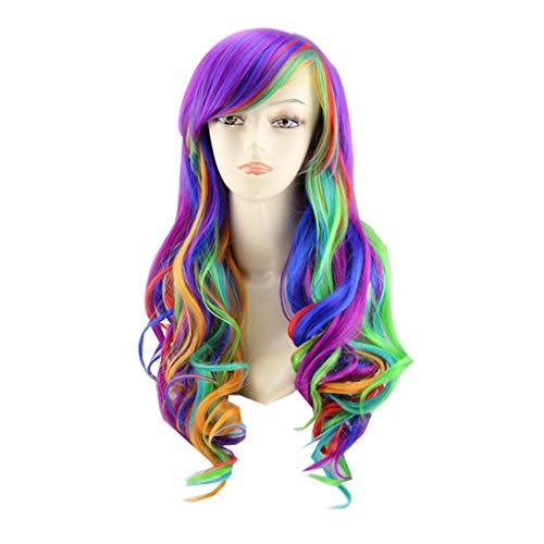 (Provide The Best Frauen-Mädchen: Hochtemperaturbeständige Synthetische Faser Sexy gewellte Lange Regenbogen-Multi Farbe Perücke)