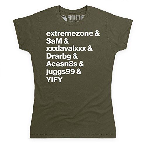 Torrent Uploaders T-Shirt, Damen Olivgrn