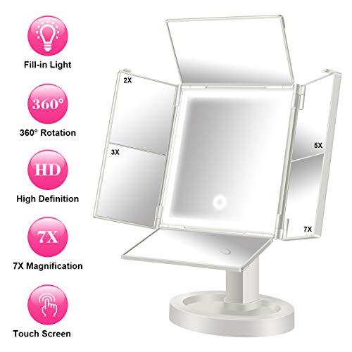 Qimaoo Espejo de Maquillaje, Espejo de vanidad con 34 luz LED, Aumento de 2X / 3X / 5X / 7X, Espejo...