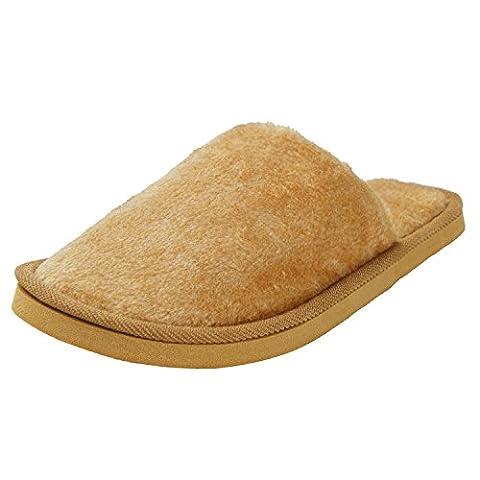 Oasap Men's Brief Solid Fuzzy Round Toe Indoor Slippers, Orange S