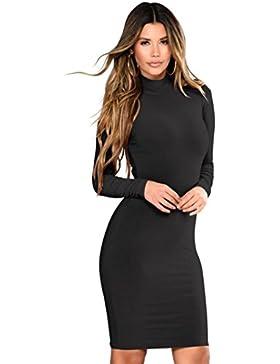 Longra Damenkleid Business Kleid Partykleid Pencil Etuikleider Damen Elegante Kleider Figurbetont Sexy Einfarbiges...