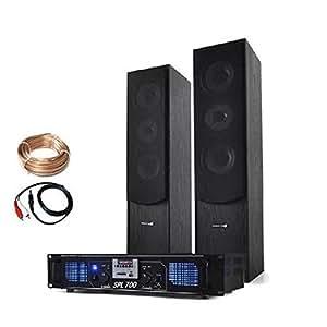 Electronic Star - Set hifi stereo avec ampli home cinema et pack d'enceintes colonnes 3 voies (USB,SD,MP3,2000W de puissance maximale)