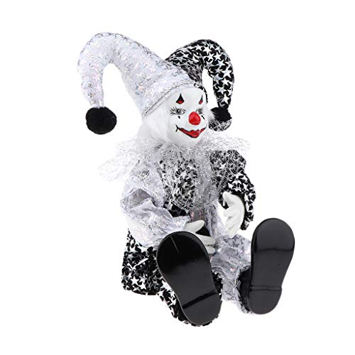 Clown Puppe Kostüm - SM SunniMix Lustige Clown Porzellan Puppe in Bunten Kostüm Handwerk